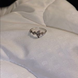 Sterling silver rose ring size 8